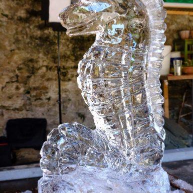 Eisskulptur Seepferd, Kunst von André Schreiber-Kohler